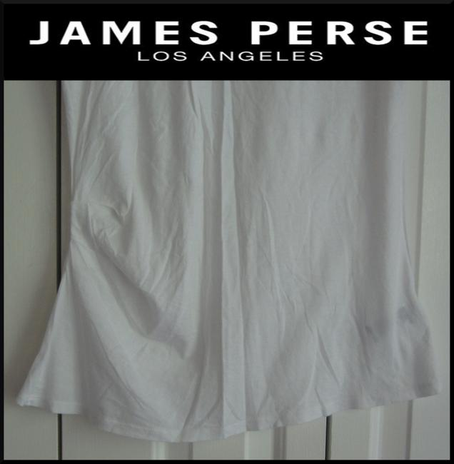 James Perse Scoop Neck Ruched Right Side Semi Sheer Sleeves Cotton T Shirt White Image 8