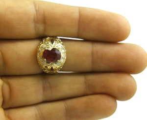Other Oval Red Ruby & Diamond Halo Solitaire Bubbles Ring 14k YG 3.13Ct