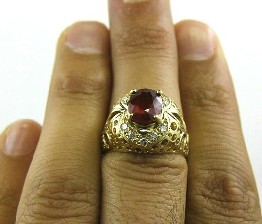 Other Oval Red Ruby & Diamond Halo Solitaire Bubbles Ring 14k YG 3.13Ct Image 1
