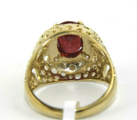 Other Oval Red Ruby & Diamond Halo Solitaire Bubbles Ring 14k YG 3.13Ct Image 3