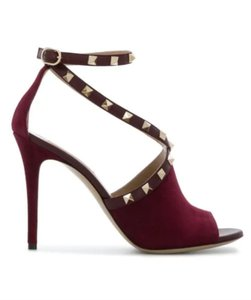 Valentino Studded Peep Toe Adjusted Strap Suede Leather Bordeaux Pumps