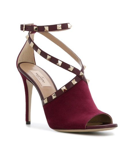 Valentino Studded Peep Toe Adjusted Strap Suede Leather Bordeaux Pumps Image 1