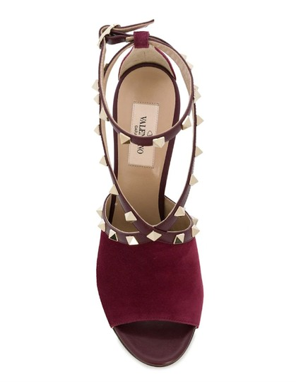 Valentino Studded Peep Toe Adjusted Strap Suede Leather Bordeaux Pumps Image 2