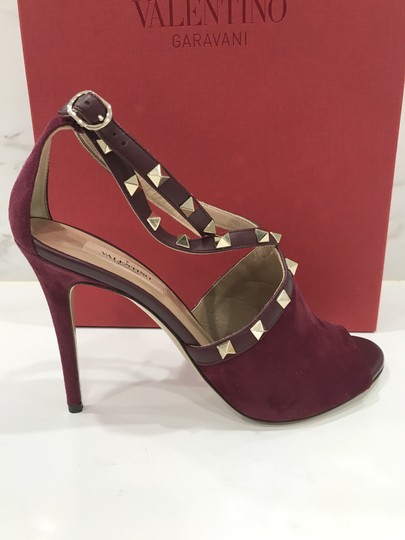 Valentino Studded Peep Toe Adjusted Strap Suede Leather Bordeaux Pumps Image 3