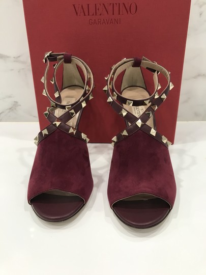 Valentino Studded Peep Toe Adjusted Strap Suede Leather Bordeaux Pumps Image 5