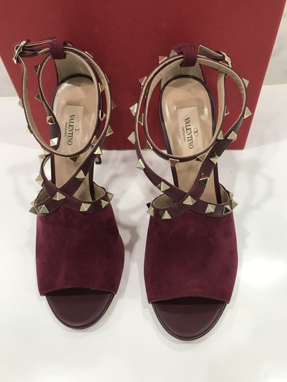 Valentino Studded Peep Toe Adjusted Strap Suede Leather Bordeaux Pumps Image 6