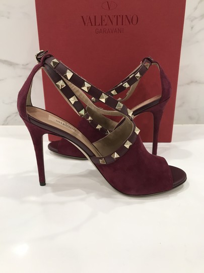 Valentino Studded Peep Toe Adjusted Strap Suede Leather Bordeaux Pumps Image 7