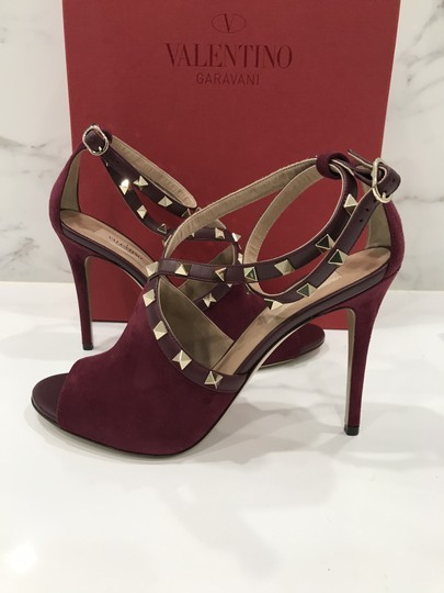 Valentino Studded Peep Toe Adjusted Strap Suede Leather Bordeaux Pumps Image 8