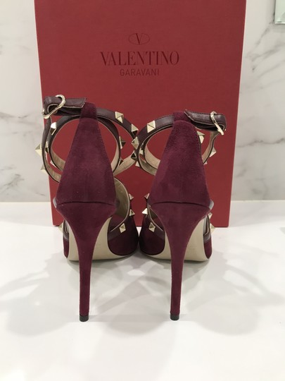 Valentino Studded Peep Toe Adjusted Strap Suede Leather Bordeaux Pumps Image 9