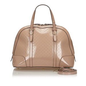 Gucci 9fgust014 Vintage Patent Leather Satchel in Brown