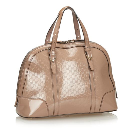 Gucci 9fgust014 Vintage Patent Leather Satchel in Brown Image 1