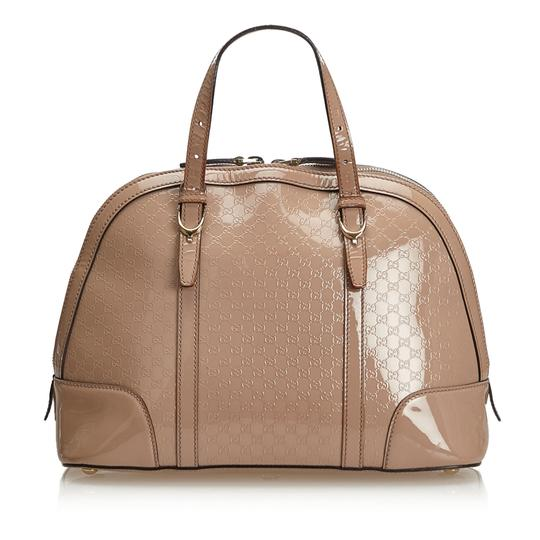 Gucci 9fgust014 Vintage Patent Leather Satchel in Brown Image 2