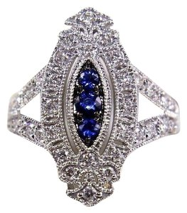 Other Long Blue Sapphire & Diamond Long Cluster Ring 14k White Gold .77Ct