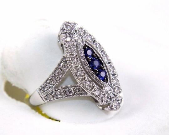 Other Long Blue Sapphire & Diamond Long Cluster Ring 14k White Gold .77Ct Image 1