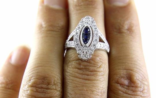 Other Long Blue Sapphire & Diamond Long Cluster Ring 14k White Gold .77Ct Image 3