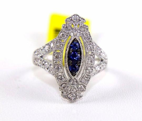 Other Long Blue Sapphire & Diamond Long Cluster Ring 14k White Gold .77Ct Image 4