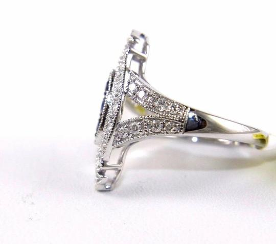 Other Long Blue Sapphire & Diamond Long Cluster Ring 14k White Gold .77Ct Image 5