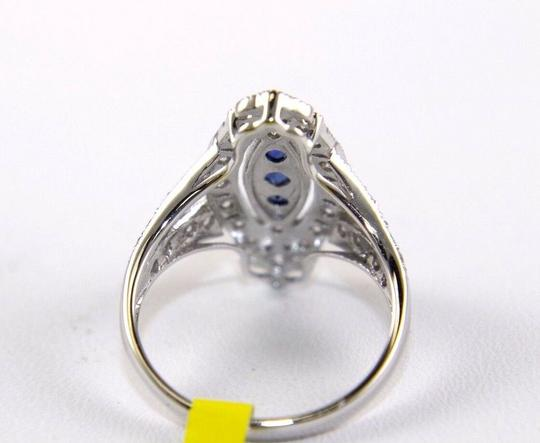 Other Long Blue Sapphire & Diamond Long Cluster Ring 14k White Gold .77Ct Image 6