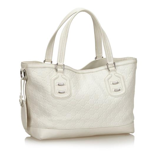 Gucci 9fguto040 Vintage Cowhide Leather Tote in White Image 1