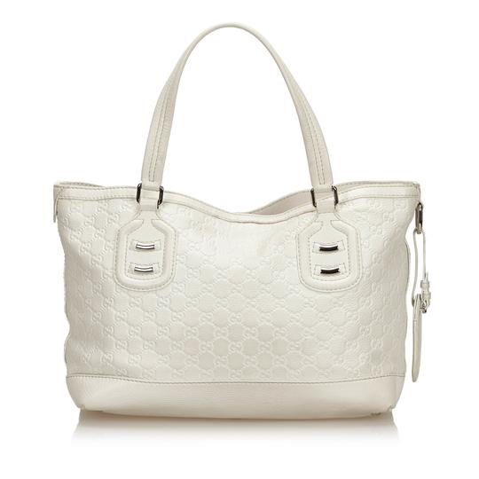 Gucci 9fguto040 Vintage Cowhide Leather Tote in White Image 2