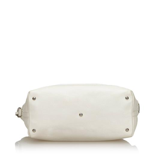 Gucci 9fguto040 Vintage Cowhide Leather Tote in White Image 3
