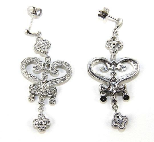 Other Round Diamond Heart Cluster Drop Dangle Earrings 14K White Gold .50Ct Image 1
