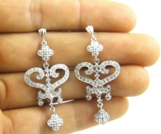 Other Round Diamond Heart Cluster Drop Dangle Earrings 14K White Gold .50Ct Image 2