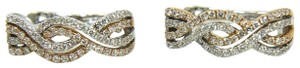 Other Round Diamond Huggie Curve Weave Earrings 18K 2-Tone Gold .56Ct