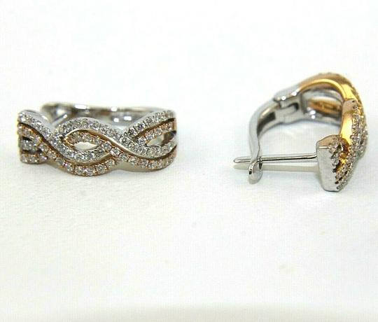 Other Round Diamond Huggie Curve Weave Earrings 18K 2-Tone Gold .56Ct Image 1