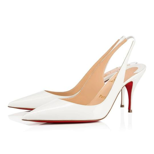 Preload https://img-static.tradesy.com/item/25726749/christian-louboutin-white-clare-sling-80-snow-patent-leather-classic-slingback-heel-pumps-size-eu-39-0-0-540-540.jpg