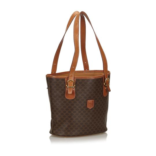 Céline 9cceto007 Vintage Plastic Leather Tote in Brown Image 1