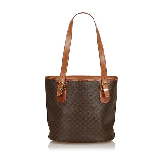 Céline 9cceto007 Vintage Plastic Leather Tote in Brown Image 2