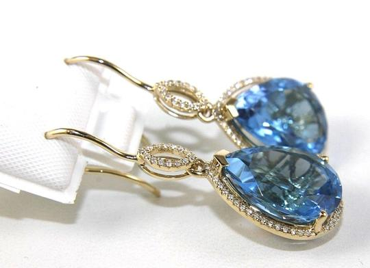 Other Pear Blue Topaz & Diamond Drop Dangle Earrings 14K Yellow Gold 17.02Ct Image 1