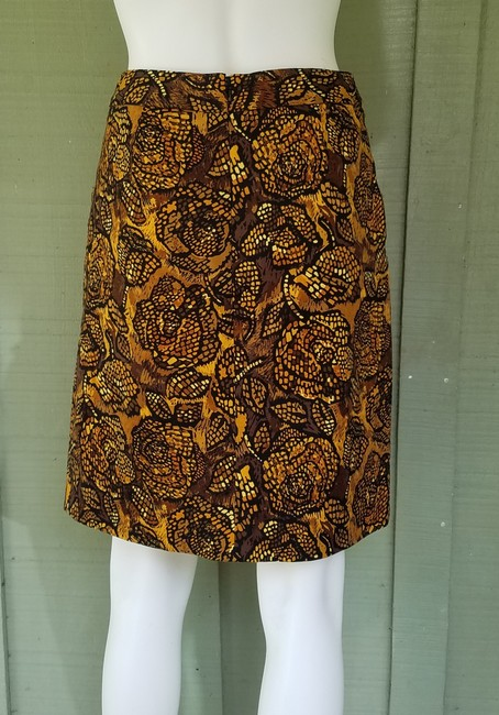 Etcetera Stretch Cotton Pockets Skirt Brown, Black, Gold Image 2