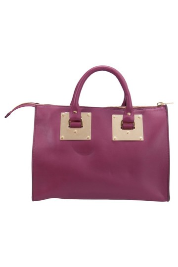 Sophie Hulme Leather Suede Satchel in Pink Image 1