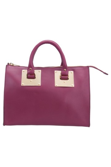 Sophie Hulme Leather Suede Satchel in Pink Image 2