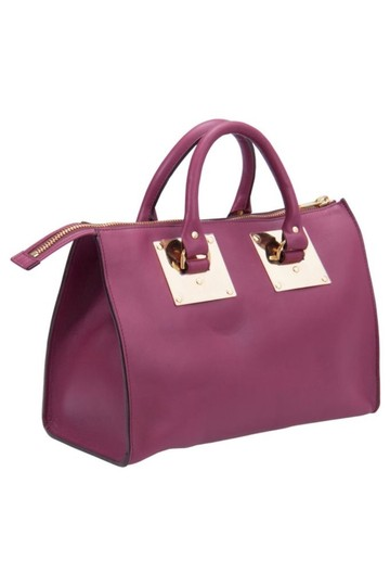 Sophie Hulme Leather Suede Satchel in Pink Image 3