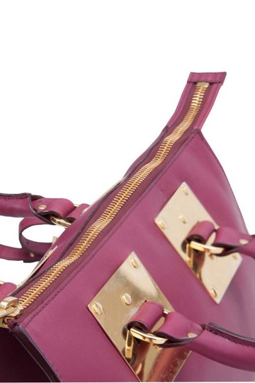 Sophie Hulme Leather Suede Satchel in Pink Image 4