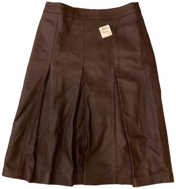 Preload https://img-static.tradesy.com/item/25726863/halogen-brown-pleated-leather-skirt-size-2-xs-26-0-1-650-650.jpg