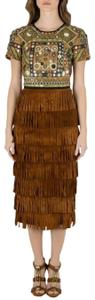 Brown Maxi Dress by Burberry Prorsum Embellished Suede Midi
