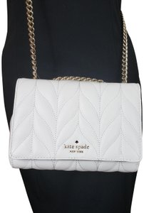 Kate Spade Designer Signature Quilted Leather Convertible Strap Bright White Clutch