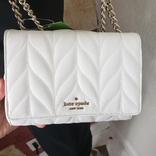 Kate Spade Designer Signature Quilted Leather Convertible Strap Bright White Clutch Image 2