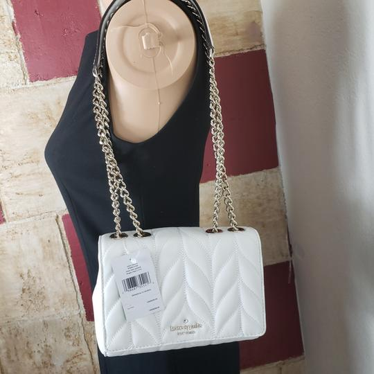Kate Spade Designer Signature Quilted Leather Convertible Strap Bright White Clutch Image 6