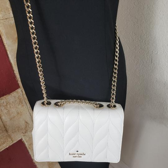 Kate Spade Designer Signature Quilted Leather Convertible Strap Bright White Clutch Image 7