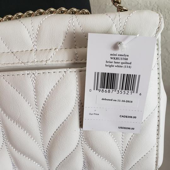 Kate Spade Designer Signature Quilted Leather Convertible Strap Bright White Clutch Image 9