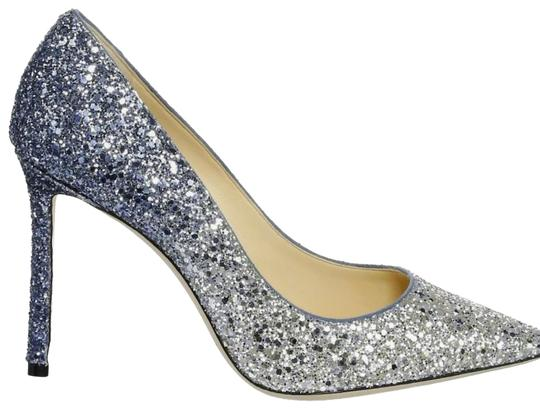 Jimmy Choo Stiletto Leather Evening Silver / dusk blue , glitter Pumps Image 0
