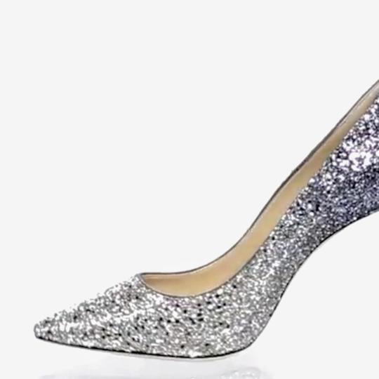 Jimmy Choo Stiletto Leather Evening Silver / dusk blue , glitter Pumps Image 1