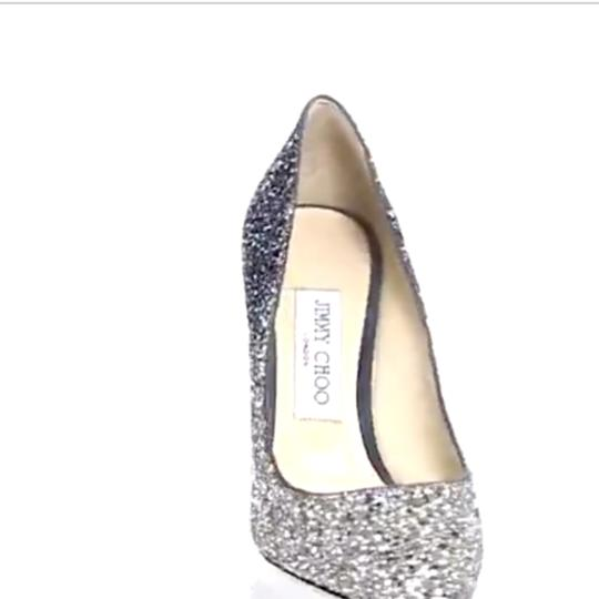Jimmy Choo Stiletto Leather Evening Silver / dusk blue , glitter Pumps Image 3