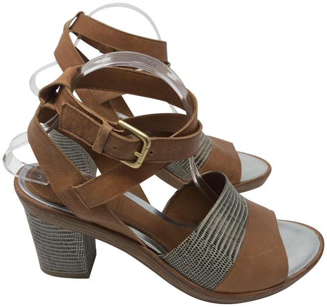 Item - Brown with Black and White Leather Chunky Heel Sandals Size EU 41 (Approx. US 11) Regular (M, B)
