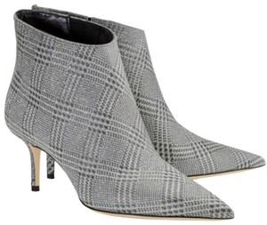 Jimmy Choo Sparkle Leather Silver Glitter Boots